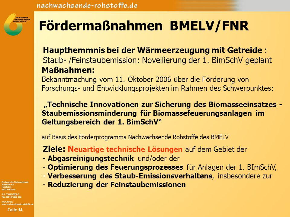 Fachagentur Nachwachsende Rohstoffe e.V. Hofplatz 1 18276 Gülzow Tel. 03843/6930-0 Fax 03843/6930-102 www.fnr.de www.nachwachsende-rohstoffe.de Förder