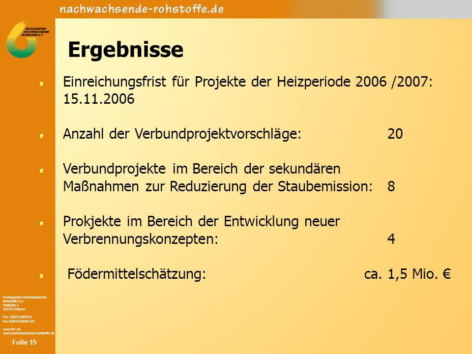 Fachagentur Nachwachsende Rohstoffe e.V. Hofplatz 1 18276 Gülzow Tel. 03843/6930-0 Fax 03843/6930-102 www.fnr.de www.nachwachsende-rohstoffe.de Ergebn