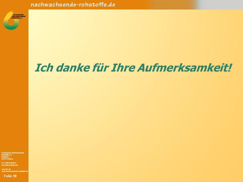 Fachagentur Nachwachsende Rohstoffe e.V. Hofplatz 1 18276 Gülzow Tel. 03843/6930-0 Fax 03843/6930-102 www.fnr.de www.nachwachsende-rohstoffe.de Ich da