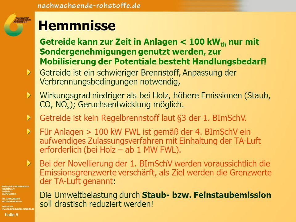 Fachagentur Nachwachsende Rohstoffe e.V. Hofplatz 1 18276 Gülzow Tel. 03843/6930-0 Fax 03843/6930-102 www.fnr.de www.nachwachsende-rohstoffe.de Hemmni