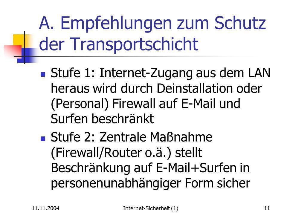 11.11.2004Internet-Sicherheit (1)11 A.