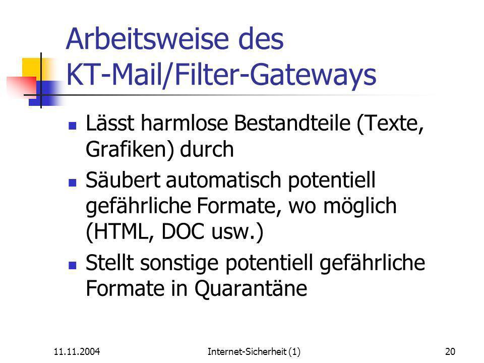 11.11.2004Internet-Sicherheit (1)20 Arbeitsweise des KT-Mail/Filter-Gateways Lässt harmlose Bestandteile (Texte, Grafiken) durch Säubert automatisch potentiell gefährliche Formate, wo möglich (HTML, DOC usw.) Stellt sonstige potentiell gefährliche Formate in Quarantäne