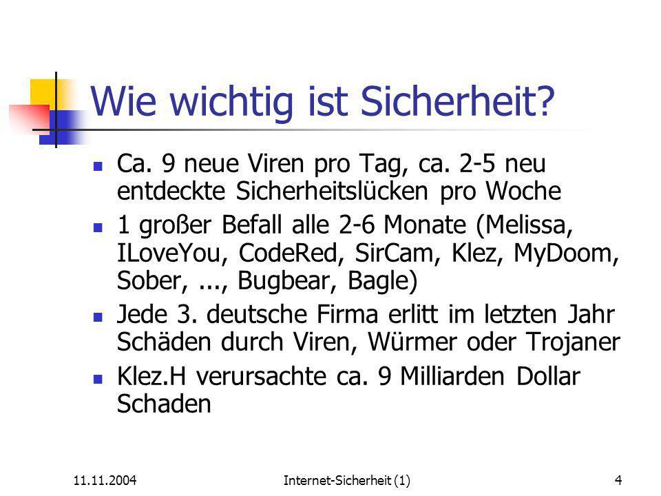 11.11.2004Internet-Sicherheit (1)15 Surfen – Was sind Freiwild-PCs.