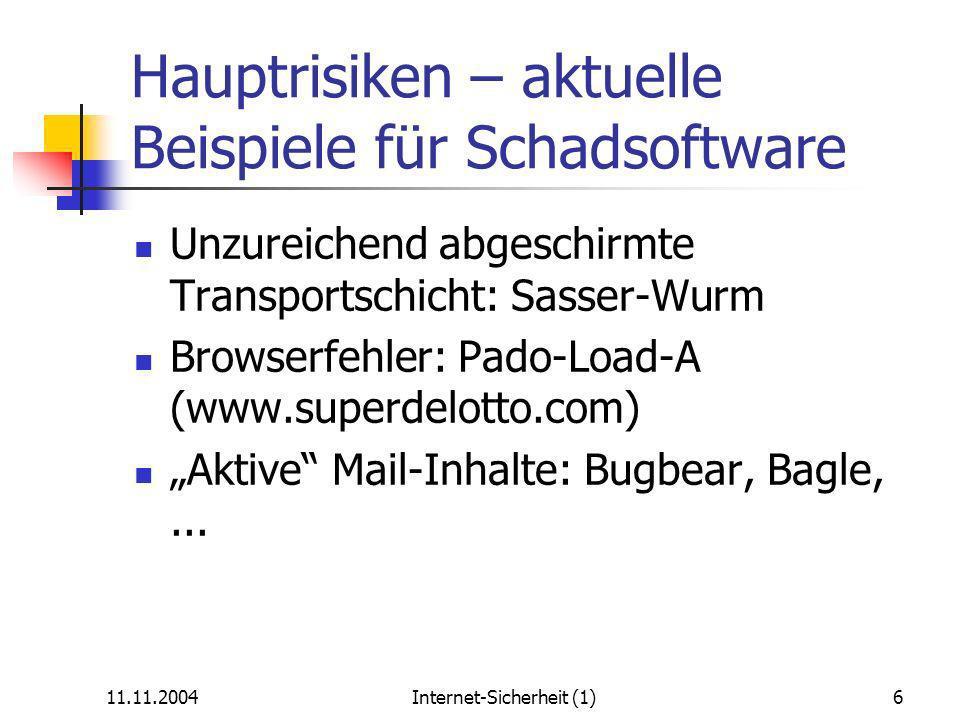 11.11.2004Internet-Sicherheit (1)6 Hauptrisiken – aktuelle Beispiele für Schadsoftware Unzureichend abgeschirmte Transportschicht: Sasser-Wurm Browserfehler: Pado-Load-A (www.superdelotto.com) Aktive Mail-Inhalte: Bugbear, Bagle,...