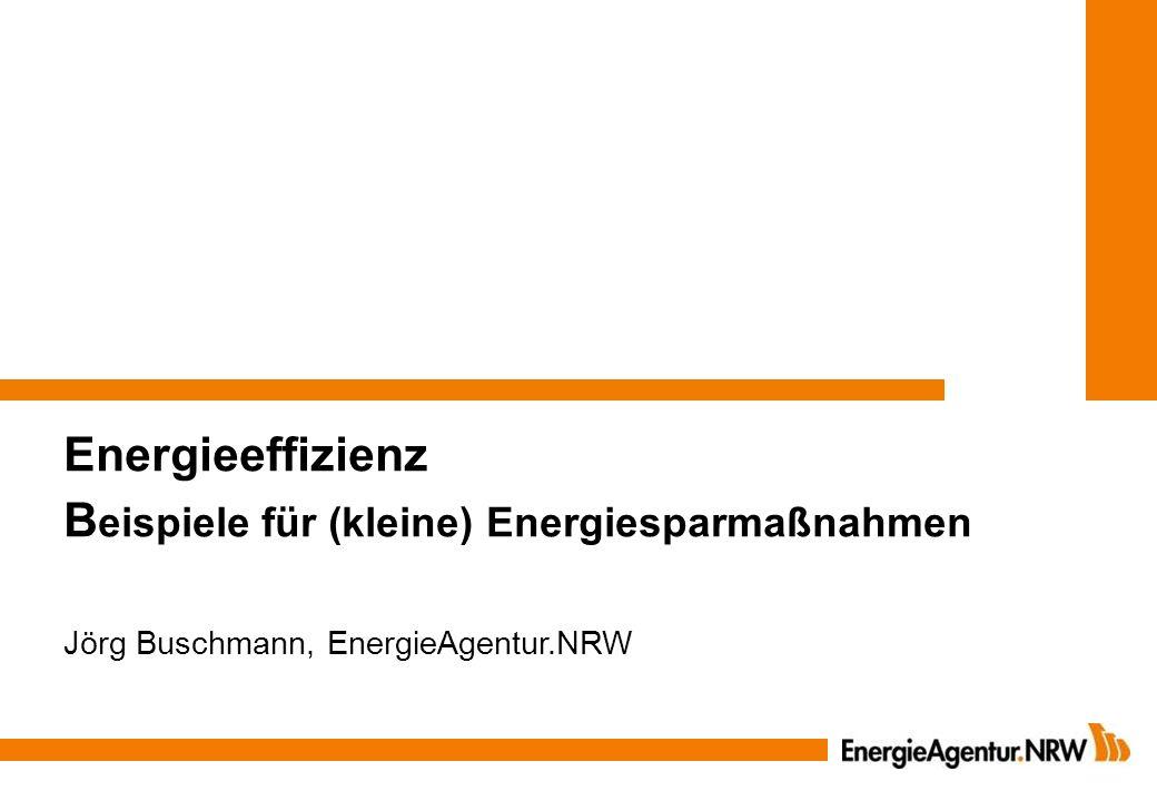 Wärmerückgewinnung aus Kälteanlagen 1 kWh Stromverbrauch = 1,5 – 3 kWh Kälte und 2,5 – 4 kWh Wärmeproduktion Invest.:5.000 – 10.000 Einsparung: 500 – 2.000 /Jahr Amortisationszeit: 4 - 8 Jahre