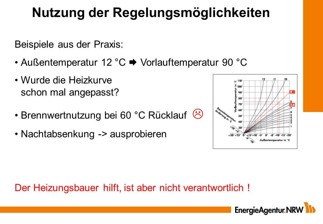Nutzung der Regelungsmöglichkeiten Beispiele aus der Praxis: Außentemperatur 12 °C Vorlauftemperatur 90 °C Wurde die Heizkurve schon mal angepasst? Br