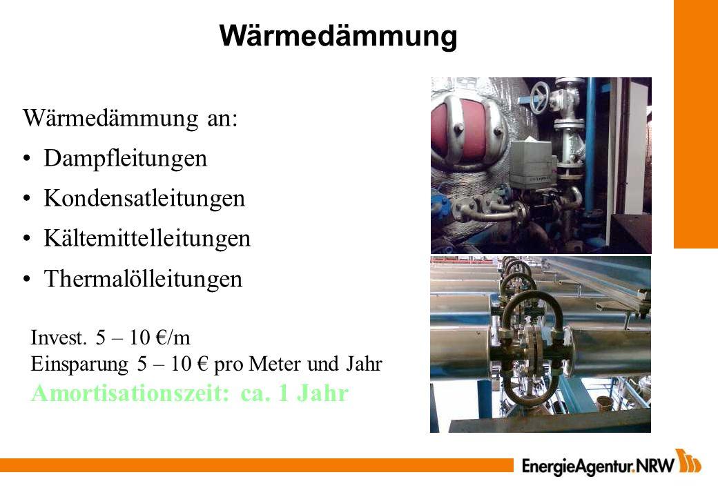 Wärmedämmung Wärmedämmung an: Dampfleitungen Kondensatleitungen Kältemittelleitungen Thermalölleitungen Invest. 5 – 10 /m Einsparung 5 – 10 pro Meter