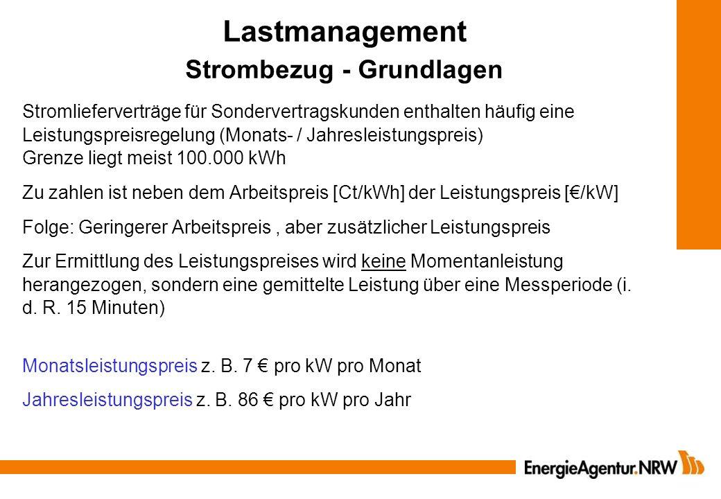 Lastmanagement Strombezug - Grundlagen Stromlieferverträge für Sondervertragskunden enthalten häufig eine Leistungspreisregelung (Monats- / Jahresleis
