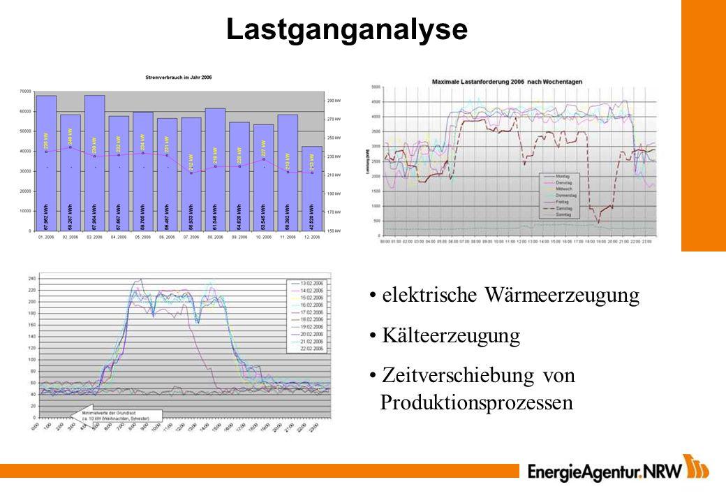 Lastganganalyse elektrische Wärmeerzeugung Kälteerzeugung Zeitverschiebung von Produktionsprozessen