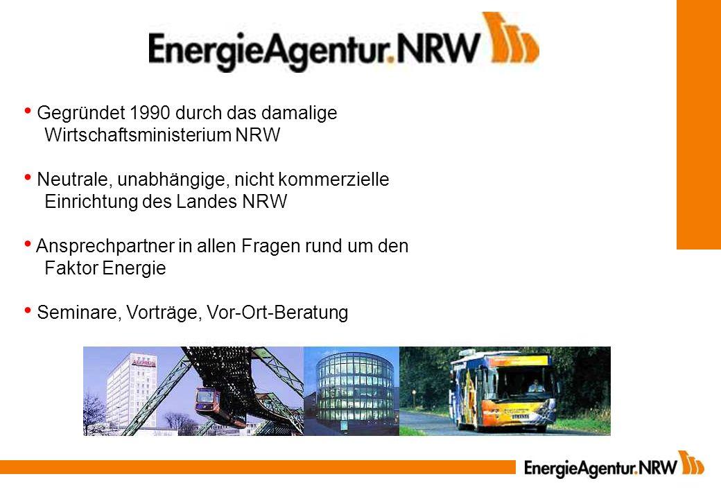 Gegründet 1990 durch das damalige Wirtschaftsministerium NRW Neutrale, unabhängige, nicht kommerzielle Einrichtung des Landes NRW Ansprechpartner in a