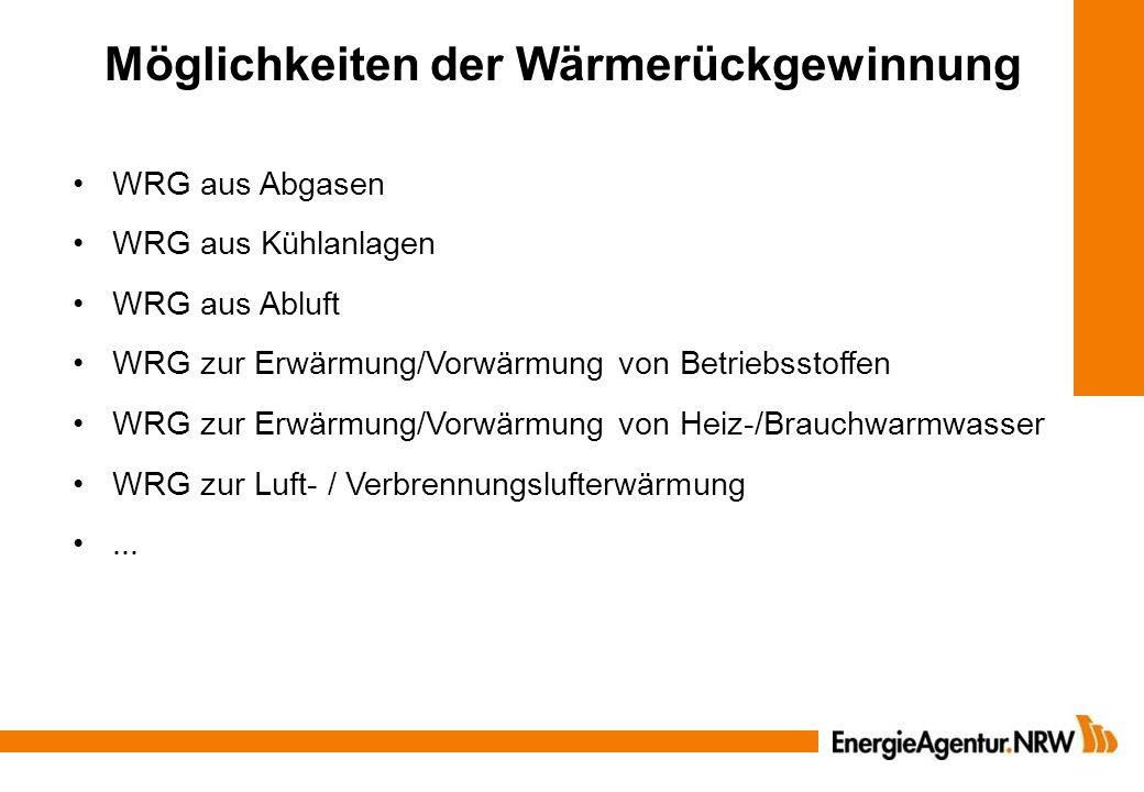 Möglichkeiten der Wärmerückgewinnung WRG aus Abgasen WRG aus Kühlanlagen WRG aus Abluft WRG zur Erwärmung/Vorwärmung von Betriebsstoffen WRG zur Erwär