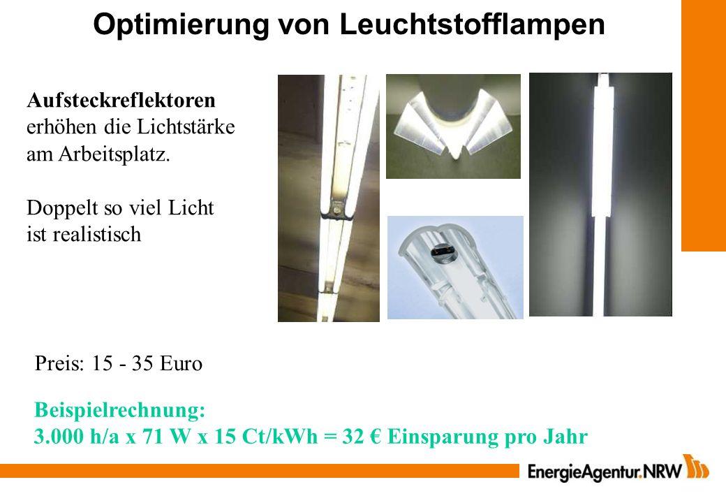 Aufsteckreflektoren erhöhen die Lichtstärke am Arbeitsplatz. Doppelt so viel Licht ist realistisch Optimierung von Leuchtstofflampen Preis: 15 - 35 Eu