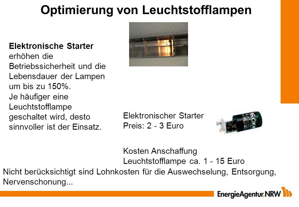 Dauerhafte Provisorien Beleuchtung 4,5 Stunden pro Tag (2.000 h/a) 0,15 Ct/kWh 500 W Halogenstrahler 9.500 Lumen 150 pro Jahr Stromkosten Lebensdauer 1.000 h Invest.: 10 Leuchte, 1 Lampe 150 Watt Metalldampflampe 12.000 Lumen 46 pro Jahr Stromkosten Lebensdauer: 8.000 h Invest.: Leuchte 150, Lampe 20 Einsparung 104 pro Jahr