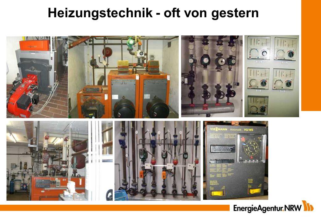 Leistungsanpassung der Heizleistung - frühere Auslegungskriterien überprüfen dicker Daumen - Volllastbenutzungsstunden prüfen (Verbrauch kWh /Leistung kW >1.800 h/a) - neue Dämmung + Fenster berücksichtigen Beispiel: 2.