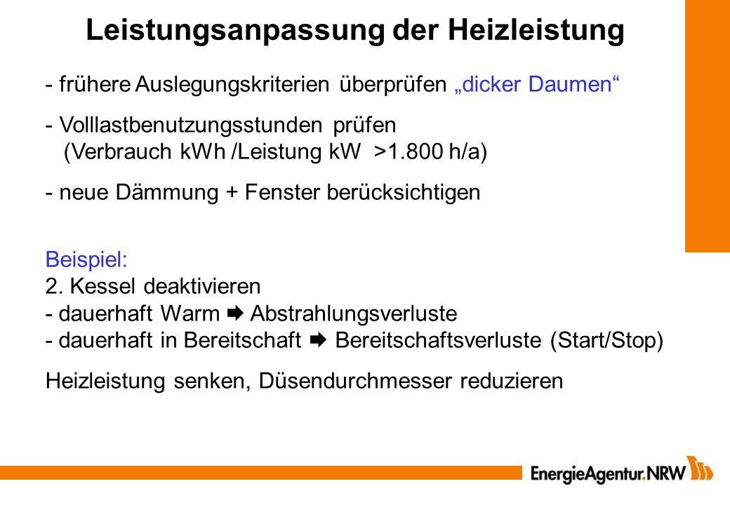 Leistungsanpassung der Heizleistung - frühere Auslegungskriterien überprüfen dicker Daumen - Volllastbenutzungsstunden prüfen (Verbrauch kWh /Leistung