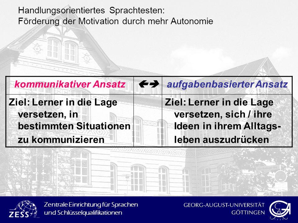 Zentrale Einrichtung für Sprachen und Schlüsselqualifikationen kommunikativer Ansatz aufgabenbasierter Ansatz Ziel: Lerner in die Lage versetzen, in b