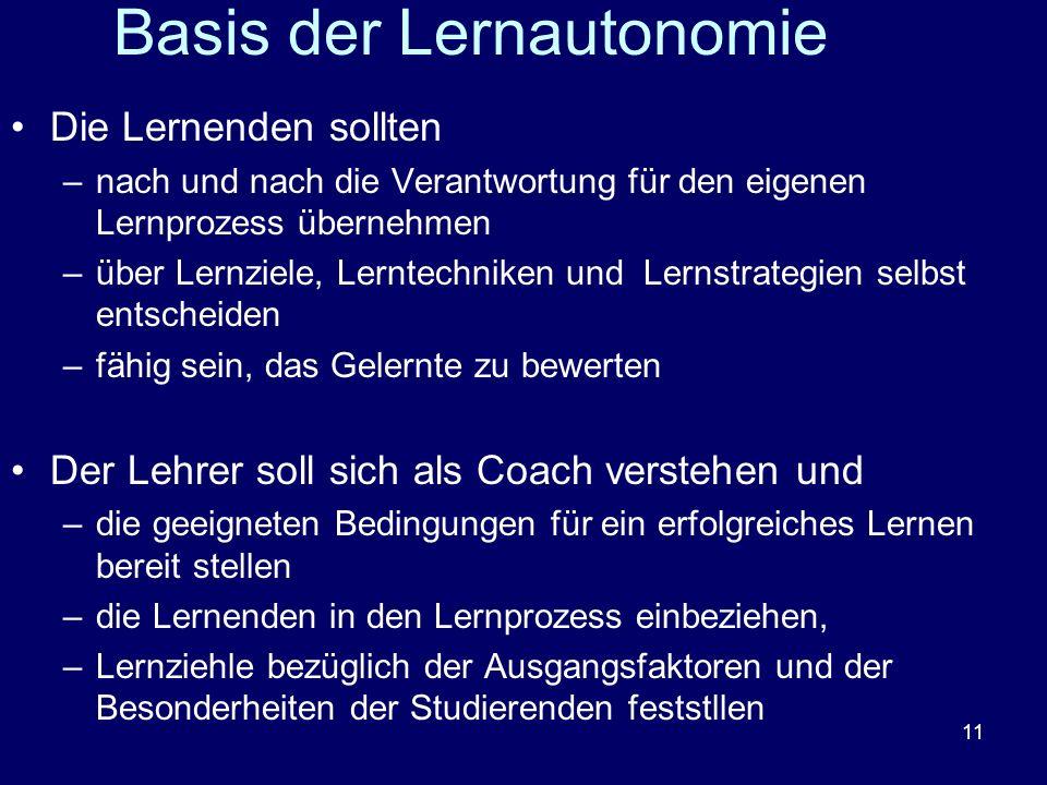 11 Basis der Lernautonomie Die Lernenden sollten –nach und nach die Verantwortung für den eigenen Lernprozess übernehmen –über Lernziele, Lerntechnike