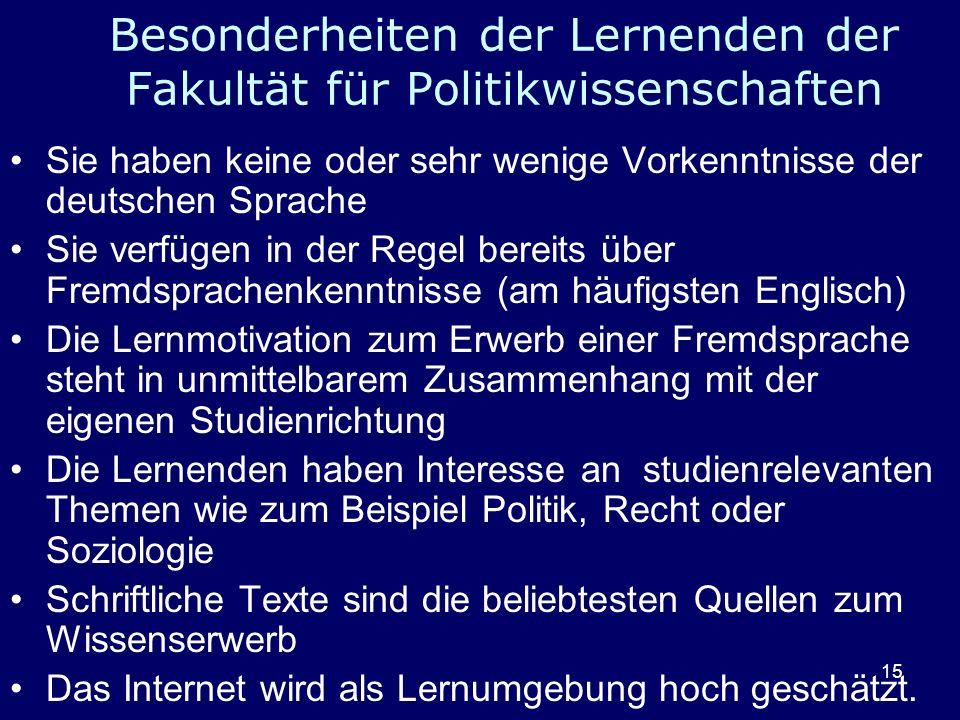 15 Besonderheiten der Lernenden der Fakultät für Politikwissenschaften Sie haben keine oder sehr wenige Vorkenntnisse der deutschen Sprache Sie verfüg