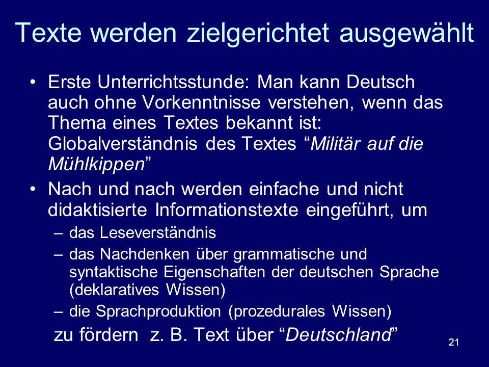 21 Texte werden zielgerichtet ausgewählt Erste Unterrichtsstunde: Man kann Deutsch auch ohne Vorkenntnisse verstehen, wenn das Thema eines Textes beka