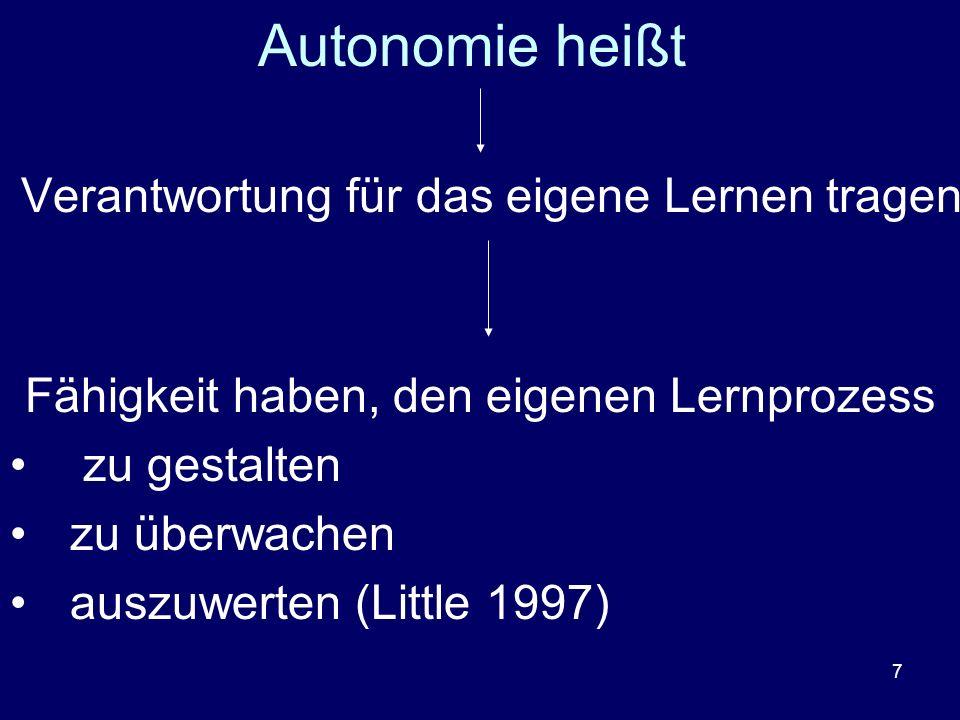 7 Autonomie heißt Verantwortung für das eigene Lernen tragen Fähigkeit haben, den eigenen Lernprozess zu gestalten zu überwachen auszuwerten (Little 1
