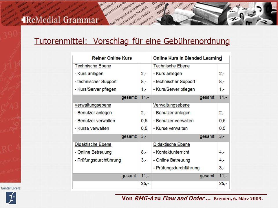 Tutorenmittel: Vorschlag für eine Gebührenordnung ____________________________________________ Von RMG-A zu Flaw and Order... Bremen, 6. März 2009.