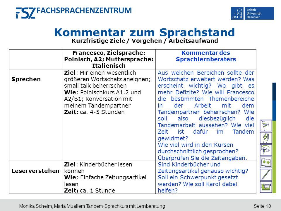 Seite 10 Kommentar zum Sprachstand Kurzfristige Ziele / Vorgehen / Arbeitsaufwand Monika Schelm, Maria Muallem Tandem-Sprachkurs mit Lernberatung Fran