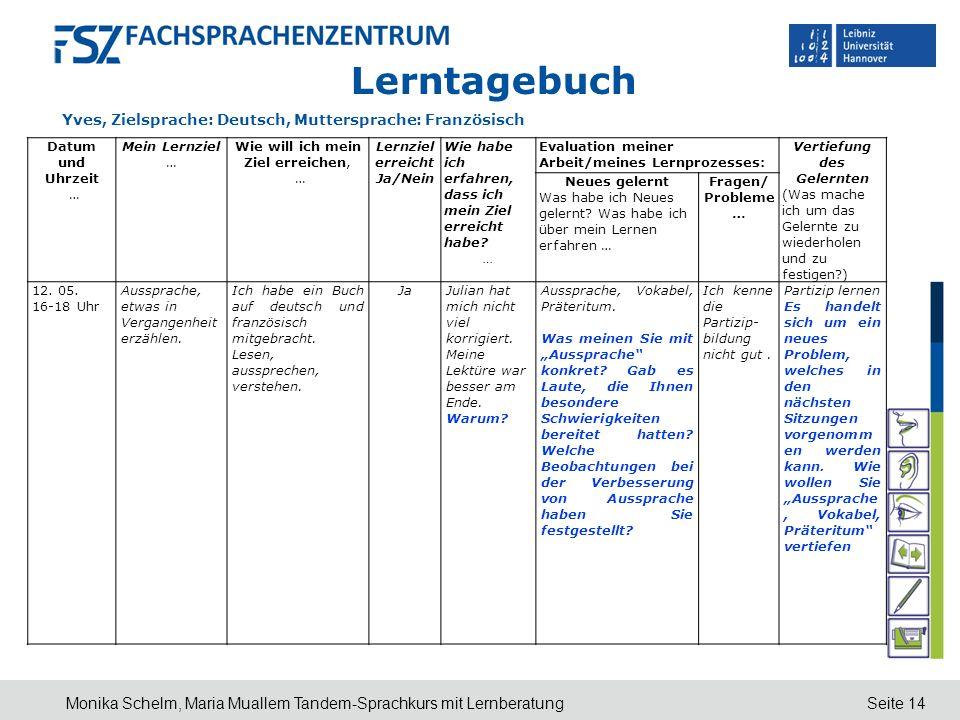 Seite 14 Lerntagebuch Yves, Zielsprache: Deutsch, Muttersprache: Französisch Monika Schelm, Maria Muallem Tandem-Sprachkurs mit Lernberatung Datum und