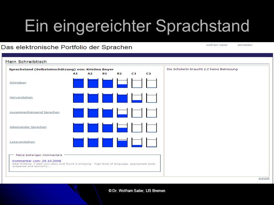 Ein eingereichter Sprachstand © Dr. Wolfram Sailer, LIS Bremen