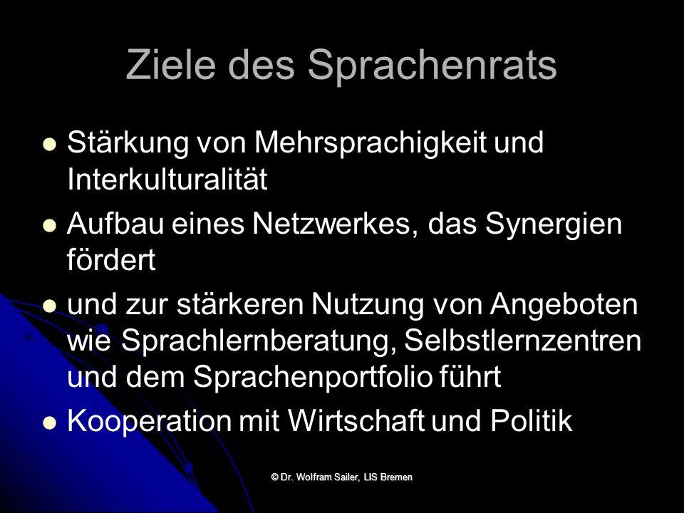 Ziele des Sprachenrats Stärkung von Mehrsprachigkeit und Interkulturalität Aufbau eines Netzwerkes, das Synergien fördert und zur stärkeren Nutzung vo