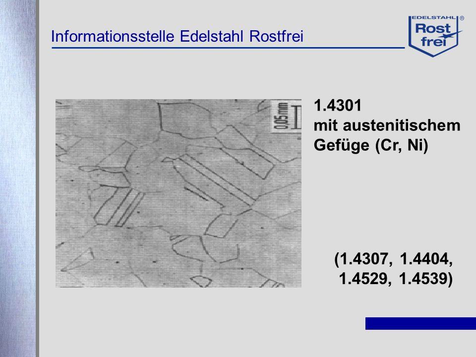 1.4301 mit austenitischem Gefüge (Cr, Ni) (1.4307, 1.4404, 1.4529, 1.4539)
