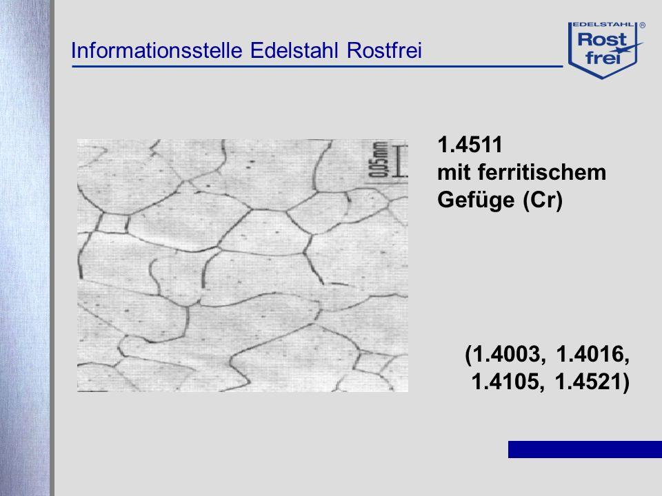 Informationsstelle Edelstahl Rostfrei 1.4511 mit ferritischem Gefüge (Cr) (1.4003, 1.4016, 1.4105, 1.4521)