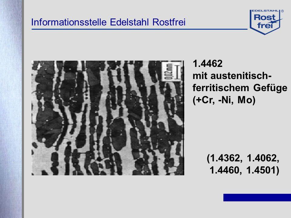 Informationsstelle Edelstahl Rostfrei 1.4462 mit austenitisch- ferritischem Gefüge (+Cr, -Ni, Mo) (1.4362, 1.4062, 1.4460, 1.4501)