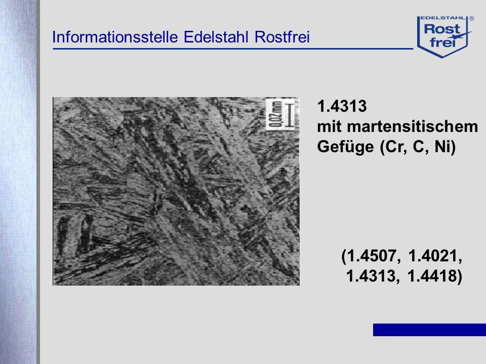 Informationsstelle Edelstahl Rostfrei 1.4313 mit martensitischem Gefüge (Cr, C, Ni) (1.4507, 1.4021, 1.4313, 1.4418)