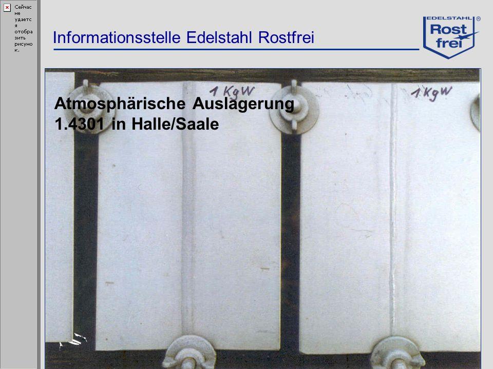 Informationsstelle Edelstahl Rostfrei Atmosphärische Auslagerung 1.4301 in Halle/Saale