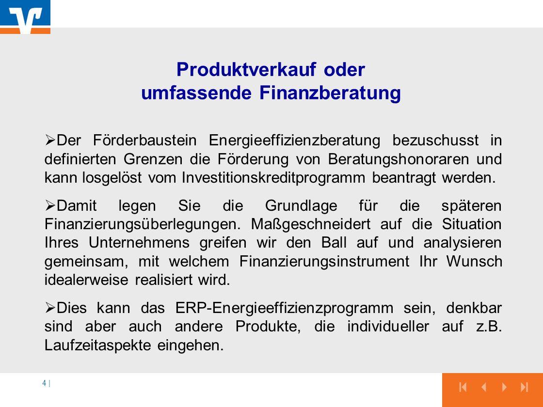 4 | Produktverkauf oder umfassende Finanzberatung Der Förderbaustein Energieeffizienzberatung bezuschusst in definierten Grenzen die Förderung von Ber