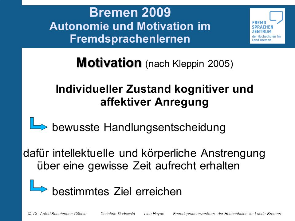 Bremen 2009 Autonomie und Motivation im Fremdsprachenlernen Motivation Motivation (nach Kleppin 2005) Individueller Zustand kognitiver und affektiver