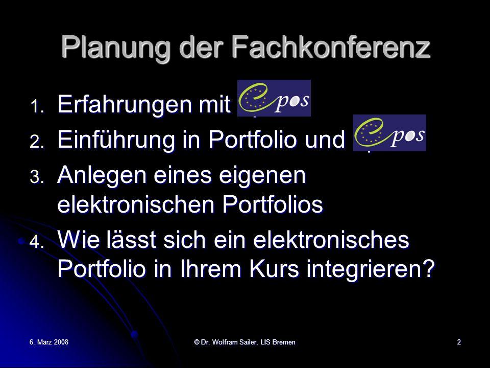 Planung der Fachkonferenz 1. Erfahrungen mit epos 2. Einführung in Portfolio und epos 3. Anlegen eines eigenen elektronischen Portfolios 4. Wie lässt