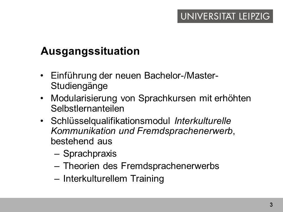 3 Ausgangssituation Einführung der neuen Bachelor-/Master- Studiengänge Modularisierung von Sprachkursen mit erhöhten Selbstlernanteilen Schlüsselqualifikationsmodul Interkulturelle Kommunikation und Fremdsprachenerwerb, bestehend aus –Sprachpraxis –Theorien des Fremdsprachenerwerbs –Interkulturellem Training