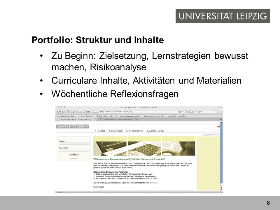 8 Portfolio: Struktur und Inhalte Zu Beginn: Zielsetzung, Lernstrategien bewusst machen, Risikoanalyse Curriculare Inhalte, Aktivitäten und Materialien Wöchentliche Reflexionsfragen