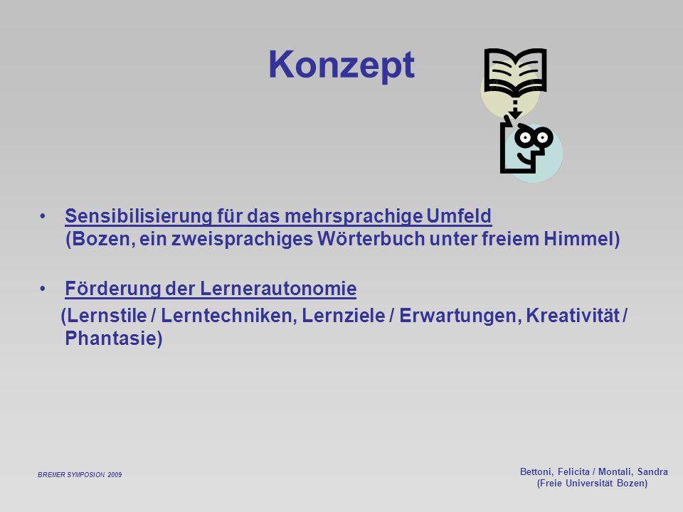 Bettoni, Felicita / Montali, Sandra (Freie Universität Bozen) Konzept Sensibilisierung für das mehrsprachige Umfeld (Bozen, ein zweisprachiges Wörterb