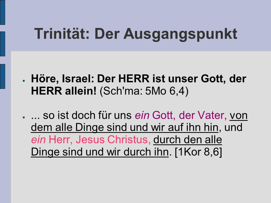 Trinität: Der Ausgangspunkt Höre, Israel: Der HERR ist unser Gott, der HERR allein! (Sch'ma: 5Mo 6,4)... so ist doch für uns ein Gott, der Vater, von