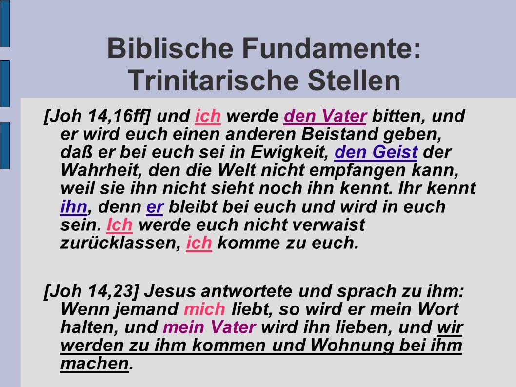 Biblische Fundamente: Trinitarische Stellen [Joh 14,16ff] und ich werde den Vater bitten, und er wird euch einen anderen Beistand geben, daß er bei eu