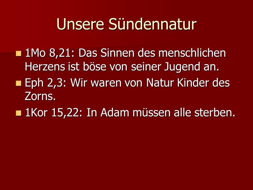 Unsere Sündennatur 1Mo 8,21: Das Sinnen des menschlichen Herzens ist böse von seiner Jugend an.