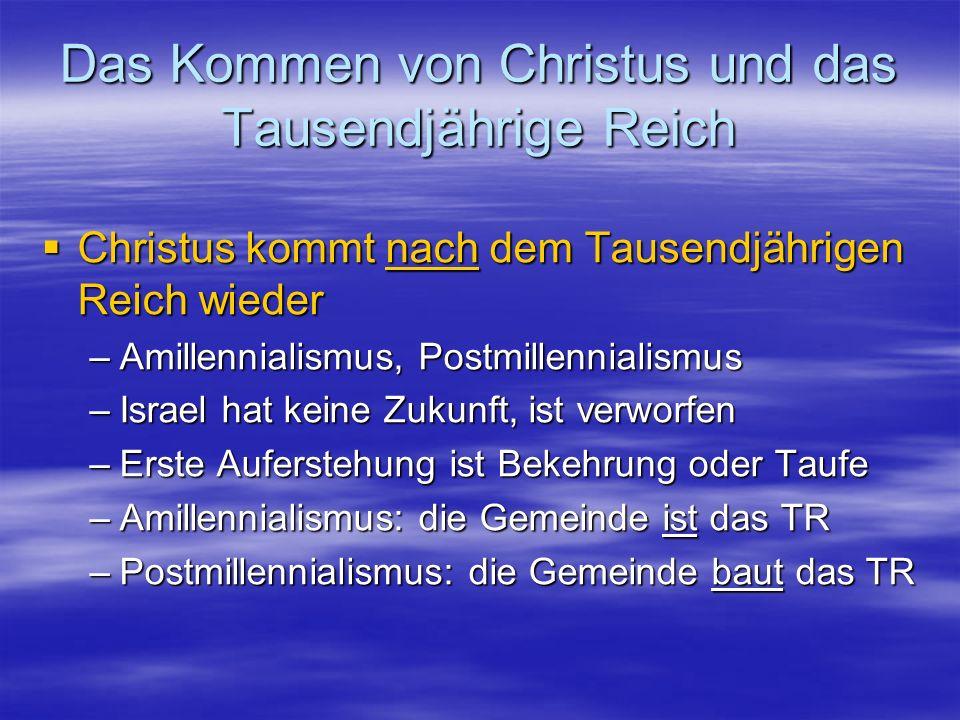 Das Kommen von Christus und das Tausendjährige Reich Christus kommt nach dem Tausendjährigen Reich wieder Christus kommt nach dem Tausendjährigen Reic