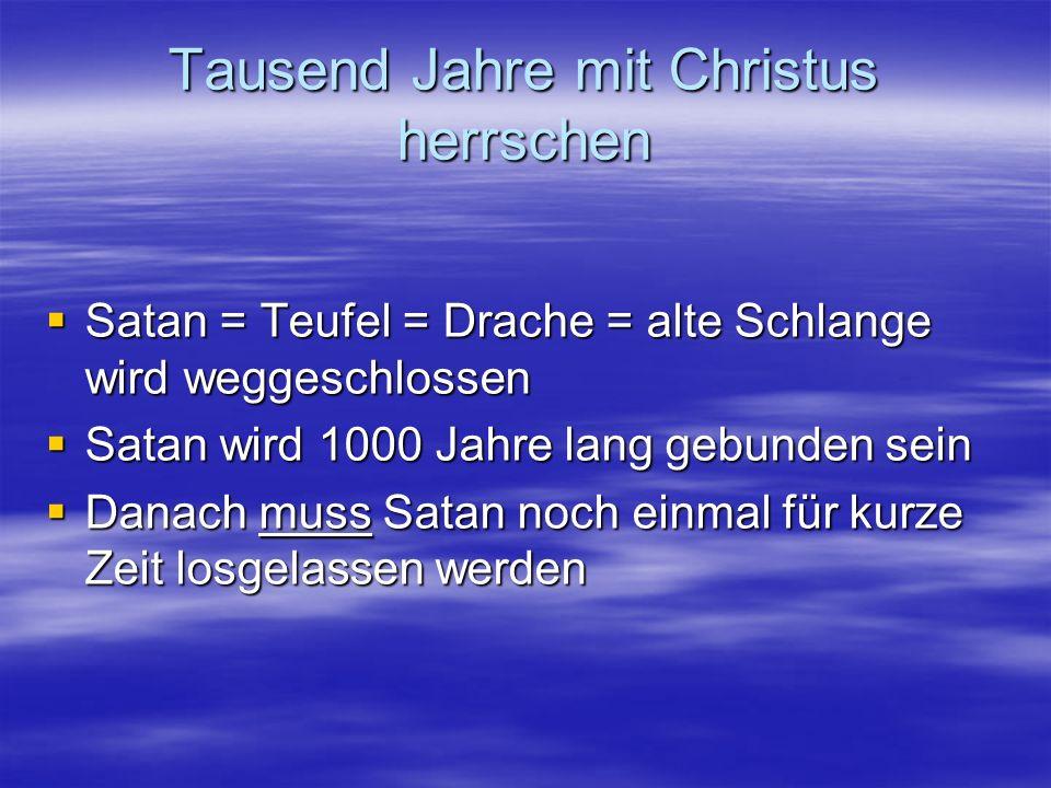 Tausend Jahre mit Christus herrschen Die Mitregenten im Tausendjährigen Reich Die Mitregenten im Tausendjährigen Reich –Märtyrer aus der letzten großen Drangsal –Die Apostel des Herrn (Mt 19,28; Lk 22,28-30) –Die Gläubigen (1Kor 6,2-3) Die erste Auferstehung ist erfolgt Die erste Auferstehung ist erfolgt