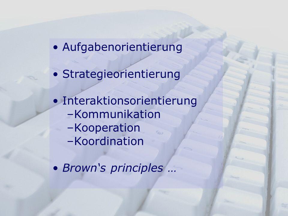 Aufgabenorientierung Strategieorientierung Interaktionsorientierung –Kommunikation –Kooperation –Koordination Browns principles …