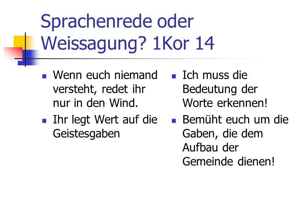 Sprachenrede oder Weissagung? 1Kor 14 Wenn euch niemand versteht, redet ihr nur in den Wind. Ihr legt Wert auf die Geistesgaben Ich muss die Bedeutung