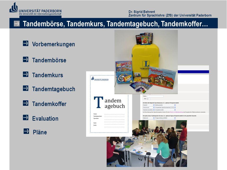 Dr. Sigrid Behrent Zentrum für Sprachlehre (ZfS) der Universität Paderborn Tandembörse, Tandemkurs, Tandemtagebuch, Tandemkoffer… Tandemtagebuch Vorbe