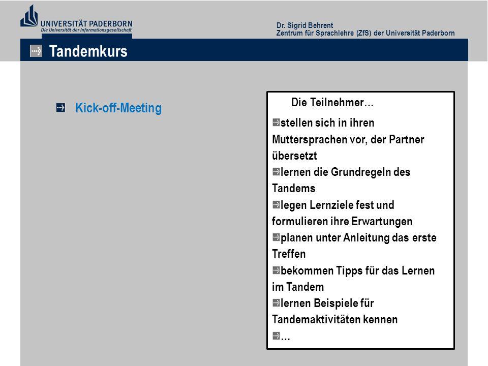 Kick-off-Meeting Dr. Sigrid Behrent Zentrum für Sprachlehre (ZfS) der Universität Paderborn Tandemkurs Die Teilnehmer… stellen sich in ihren Mutterspr