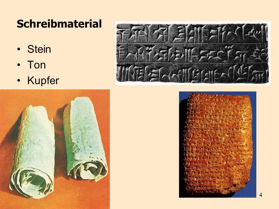 5 Schreibmatierial Papyrus = Blattstängel der Papyrusstaude Pergament (Leder) Palimpsest (Pergament mit abgekratztem Text